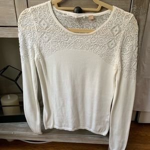 Anthropologie white lace detail sweater